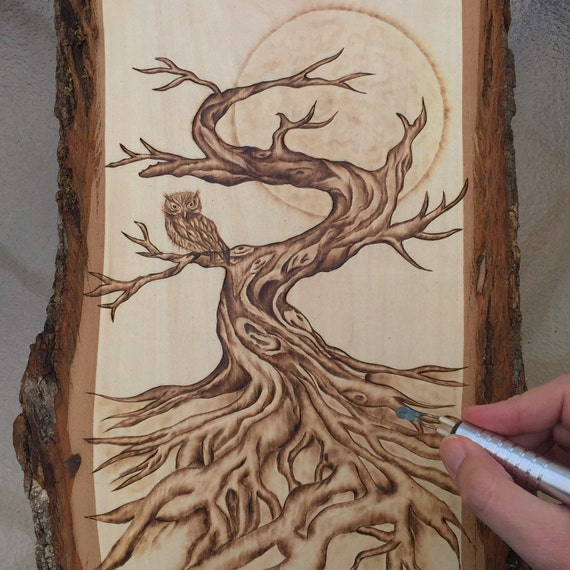 Autumn Tree And Owl Woodburning Art