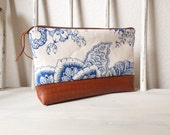 Blue and White Floral Zippered Pouch