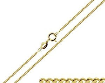 Solid 9ct Gold Fine Curb Chain 14 16 18 20 22 24 inch length x  1.1mm width for our lightweight pendants