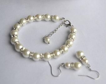 Pearl Bracelet  Earrings Set, 8mm White Pearl Set, White Pearl Set, Bridesmaid Jewelry, Pearl Braclet And Dangle Earrings,  Rhinestone