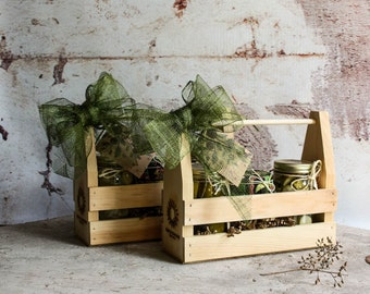 Florida Artisan Sampler Rustic Wooden Gift Crate Featuring your choice of Three Jars of Assorted Pickles and Jam
