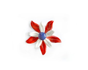 Flower Brooch / Enamel Brooch /  Red White Blue Brooch  / Floral Pin / 60s Brooch /  Vintage Jewelry Brooches / Jewelry Brocohes