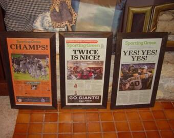 3 San Francisco Giants framed solid rustic cedar original newspapers World Series champions 2010 2012 2014 dark finish