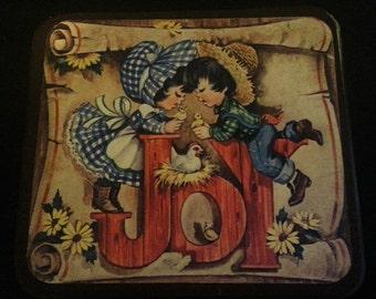 Vintage 1970s Cute Country Kids Joy Wood Plaque