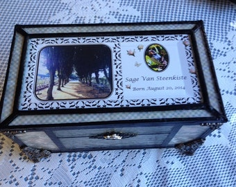 Loss of child, stillborn, miscarriage, stained glass shabby chic, cottage chic memory keepsake box