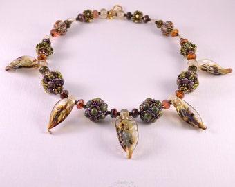 Beaded necklace - lampwork necklace - Beadwork jewelry