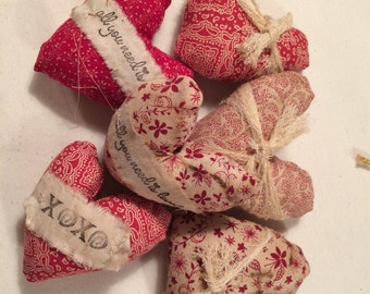 Handmade Valentine's Day heart bowl fillers 6 peice set