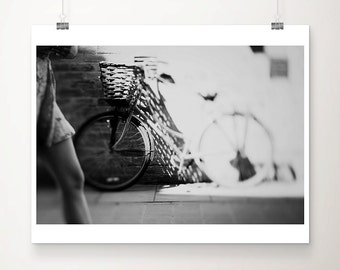 bicycle photograph black and white photography cambridge photograph bicycle print summer photograph woman photograph