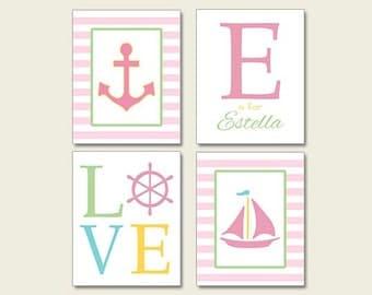 Preppy Wall Art, Pink Green Nursery, Personalized Nautical Nursery, Sailboat Anchor, Sailboat Wall Art Print, Pink Green Yellow Set of 4