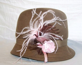 Vintage ~ Upcycled ~ Artisan ~ Taupe Wool ~ Cloche Hat ~ Pink, Brown and Ostrich Plume Accents