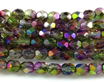 25 Orchid Magic Fire Polished Faceted Czech Glass Beads 6mm
