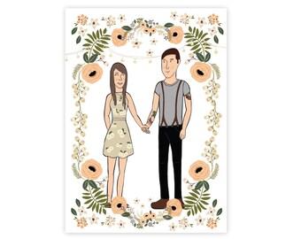 Custom Cartoon Illustration Wedding Invitation // Illustration Wedding Invitation with Portrait of Couple