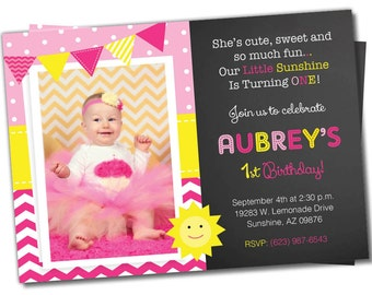 You are my Sunshine Birthday Invitation, Sunshine invite, Sunshine Birthday Party, Photo Invite, Hot Pink, Yellow, Lemonade, Chevron (S1)