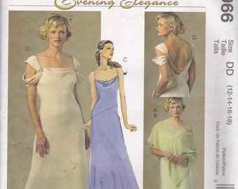 McCalls 4966 Vintage Pattern Evening Gown, Prom Dress or Bridesmaid Dress In 3 Variations Size 6 UNCUT