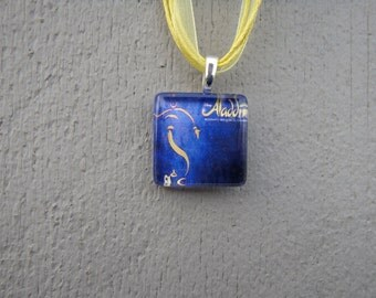 Broadway Musical Aladdin Glass Pendant and Ribbon Necklace