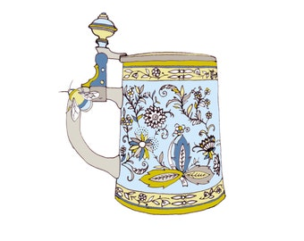 SALE - Greetings Card - Bumble Bee on a Beer Tankard.