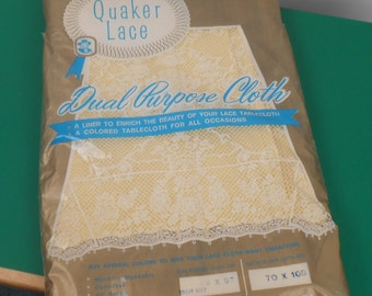 Quaker Lace Dual Purpose Cloth Bright Gold Tablecloth  size 52 x 97  1960s  New - Free US Shipping