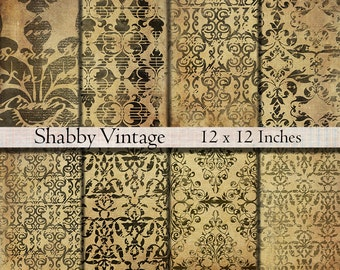 Digital paper pack shabby vintage dark grungy background printable download 12 x 12 digital scrapbook paper shabby grungy