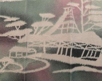 SF 1310 vintage silk green and purple landscape