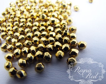 Goldtone Faceted Round Spacer Beads  - 4mm spacer beads, warm gold lead/nickel free beads  - reynaredsupplies