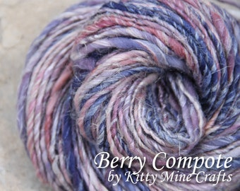 Mildly TnT Handspun Yarn - Berry Compote - Merino, Silk, Flax - 155 yards of Heavy Worsted Yarn - Knitting Supplies - Hand Dyed