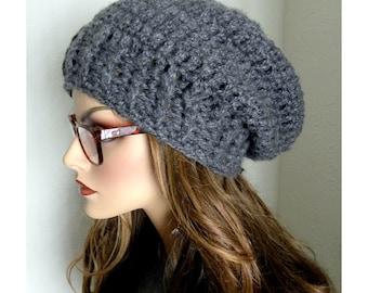 Chunky Slouchy Beanie, Women's Slouchy Hat,Gray Slouchy Beanie, Beanie, Crocheted Beanie, Women's Accessories, Warm Hat