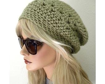 Hat, Slouchy Beanie, Sage Green Beanie, Women's Slouchy hat, Teen Trends, Accessories, light green hat, slouchy hat, knit hat