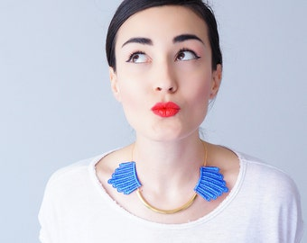 Summer Party Summer Outdoors Blue Necklace Lace Necklace Gold Bar Necklace Arc Necklace Gift For Her Gift/ DESERTES