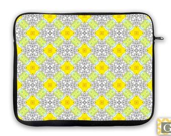 Modern Yellow & Gray iPad Case, Laptop Bag, Laptop Sleeve, Laptop Case, iPad Sleeve, MacBook Case, Tablet Case, Sleeve - Hennie Yellow