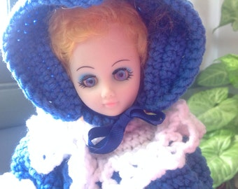 Vintage Hand Crochet Bed Doll Blue and White