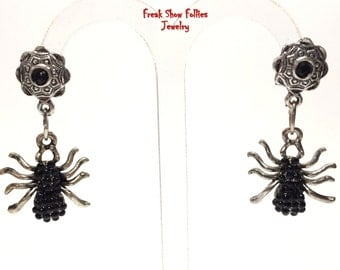 black spider crystal earrings