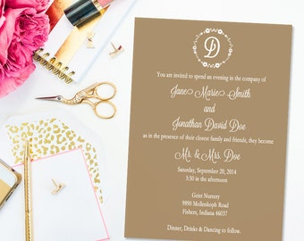 Rustic Chic Wedding Invitation with RSVP Card- PRINTABLE INVITATION Design