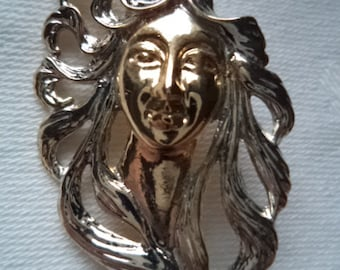 Vintage Unsigned  Silvertone/Goldtone Art Nouveau Lady Brooch/Pin