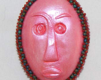 """PINK Polymer Clay Cabochon Tribal Face Brooch, Green and Red Bead Bezel - 1 1/4"""" x 1 3/4"""", Scarf Pin, Coat Pin"""