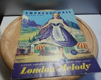London Melody theatre program, Empress Hall, London circa 1950, fair condition