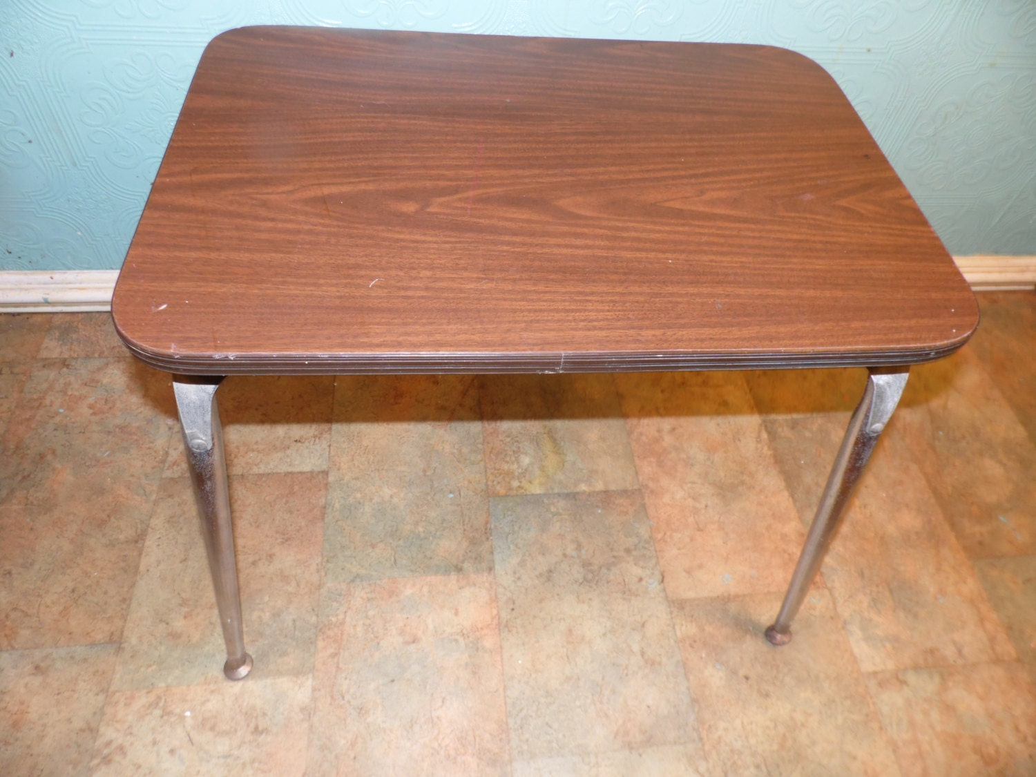 Chrome And Wood End Table ~ Vintage industrial chrome wood end table children s by