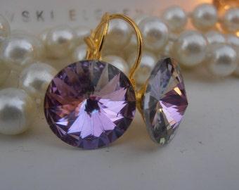 BIG Swarovski Earrings, Light Vitrail, 14mm, Crystal, 1122 Rivoli, Leverback, Dangle, Drop Earrings, Wedding, Golden Glue on Setting