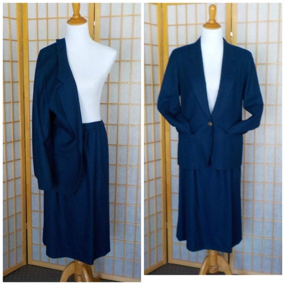 Pendleton Wool Suit, Navy Blue Skirt and Blazer, Pendleton Wool Suit, Tailored Wool Suit, Wool Navy Blazer Sz 10, Wool Navy Skirt Sz 12