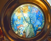 1986 Stained Glass Pewter Plate With Box, The Statue of Liberty, US Historical Society
