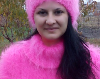 Hand knitted mohair hat ,fluffy hat ,Winter hat, Womens knit slouchy hat, fuzzy mohair hat