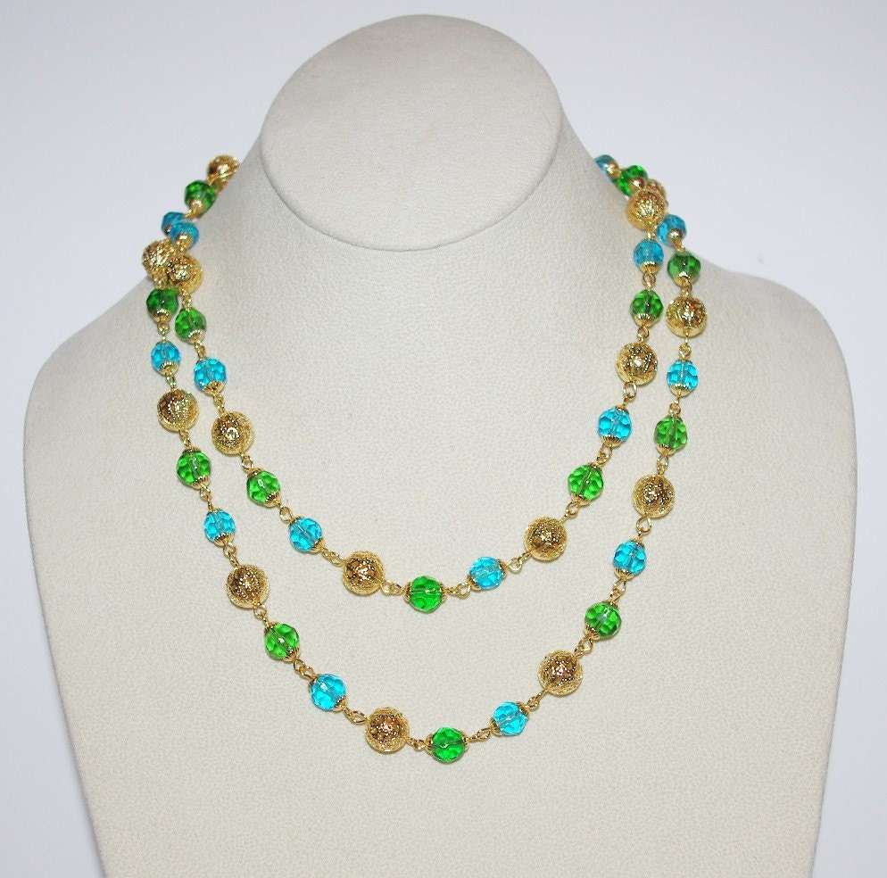 Joan rivers beaded necklace aqua and green 36 inches for Joan rivers jewelry necklaces