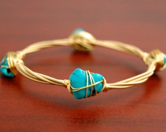 Guitar String Bangle - Guitar String Jewelry - Turquoise Stone Bracelet - Wire Wrapped Jewelry - Gold Bangle