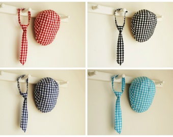 Gingham necktie and hat set of your choice of color, twins hat, triplets photo prop, quadruplets gift - made to order