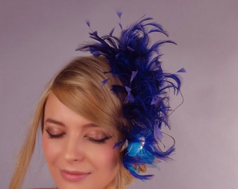 Purple Bridal Feather Fascinator Kentucky Derby Head Piece Vail Wedding Accessory Feathers Crystals