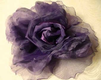 Extra Large Silk and Velvet Rose Plum Purple Millinery Flower Aubergine for Hats Gowns Weddings Home Dec Fascinators