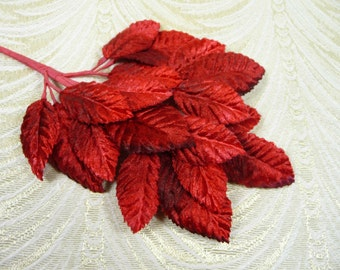 Velvet Millinery Leaves Red Ombre Beautiful Spray of 18 for Hats Scrapbooking, Fascinators, Crafts 7LN0003R