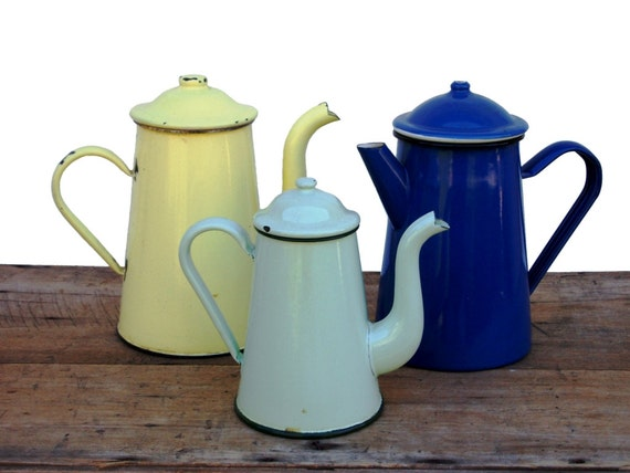 country kettle kitchen shabby trio enamel coffee pots tea by frenchmarketfinds 2720