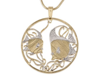 """Tropical Fish Pendant and Necklace Jewelry, Mozambique Fish Coin Hand Cut, 14 Karat Gold and Rhodium Plated,1 1/8 """" in Diameter, ( # 644 )"""