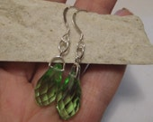 Vintage Sterling Silver Huge Peridot Quartz  Sterling Silver Hooks Teardrop Dangle Earrings