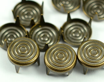 50 Pieces Antique Brass 9 mm Round Stud Spike, For Leather and Dress